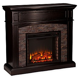 Southern Enterprises© Grantham Corner Convertible Faux Stone Electric Fireplace in Ebony