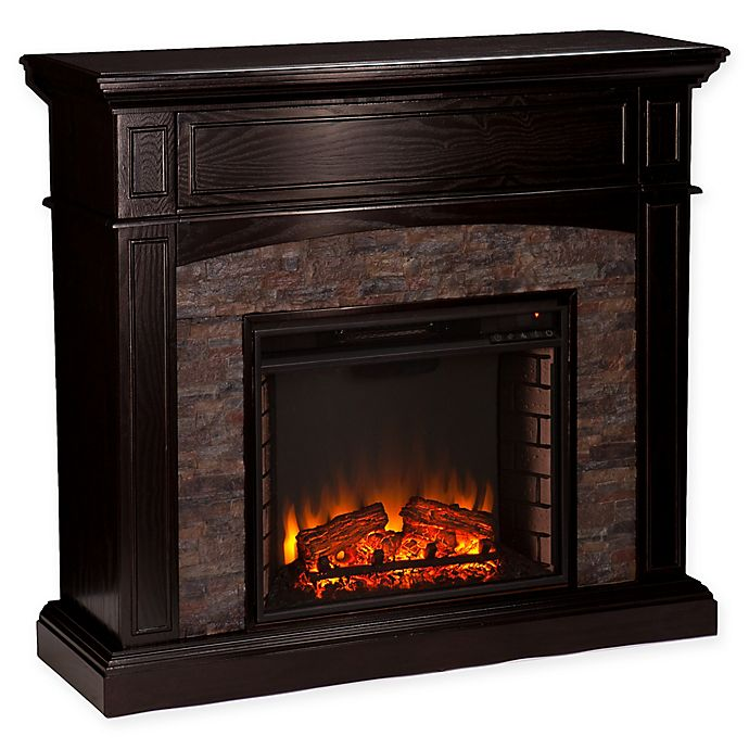 Alternate image 1 for Southern Enterprises Grantham Stone Corner Electric Media Fireplace in Ebony