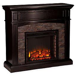 Southern Enterprises Grantham Stone Corner Electric Media Fireplace in Ebony