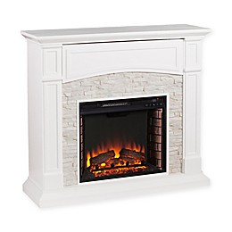 Southern Enterprises© Seneca Faux Stone Media Stand Electric Fireplace in White