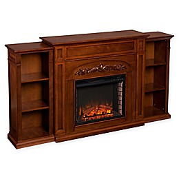 Southern Enterprises© Chantilly Electric Fireplace with Bookcase in Autumn Oak