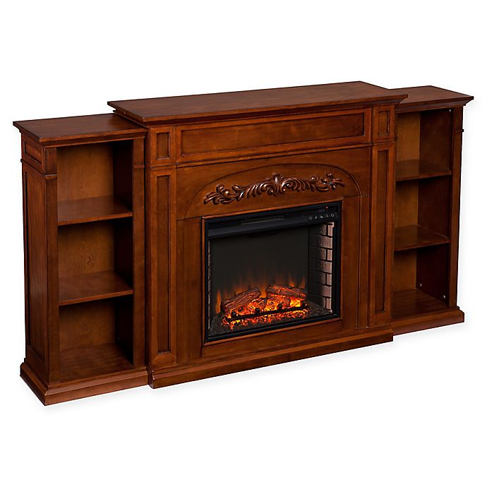 Alternate image 1 for Southern Enterprises Chantilly Bookcase Electric Fireplace in Autumn Oak