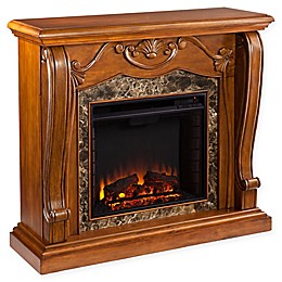 Southern Enterprises© Cardona Faux Marble Media Stand Electric Fireplace in Walnut