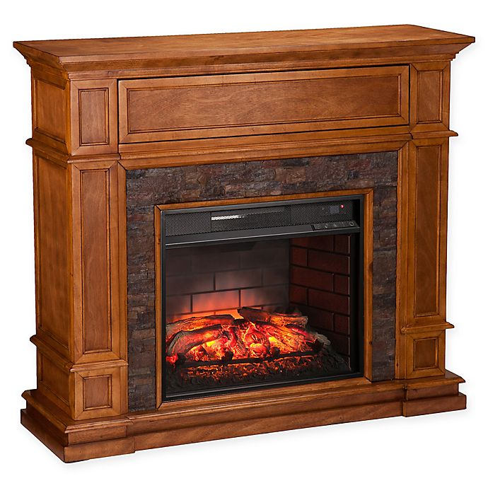 Alternate image 1 for Southern Enterprises Belleview Stone Infrared Electric Media Fireplace in Sienna
