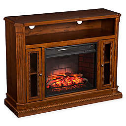 Southern Enterprises Atkinson Infrared Electric Media Fireplace with Stand in Oak