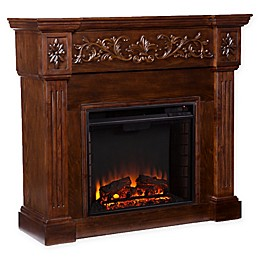 Southern Enterprises© Calvert Carved Media Stand Electric Fireplace in Espresso