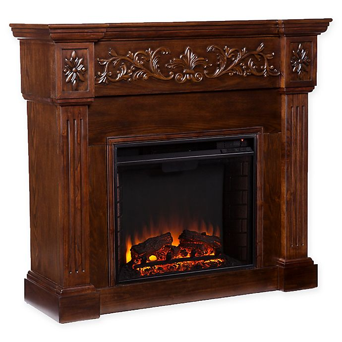Alternate image 1 for Southern Enterprises© Calvert Carved Media Stand Electric Fireplace in Espresso