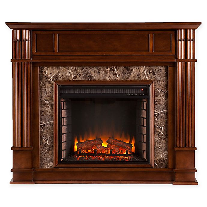 Alternate image 1 for Southern Enterprises© Highgate Faux Stone Media Stand Electric Fireplace in Whiskey Maple