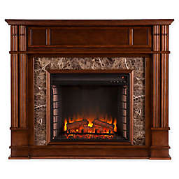 Southern Enterprises Highgate Stone Electric Media Fireplace in Maple