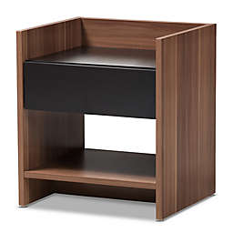 Baxton Studio Vanda 1-Drawer Nightstand in Black/Brown