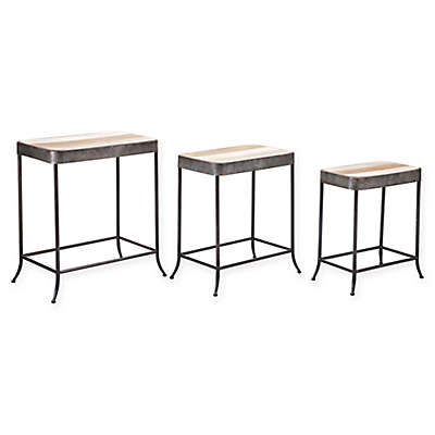 Zuo® 3-Piece Steel and Wood Nesting Tables in Antique