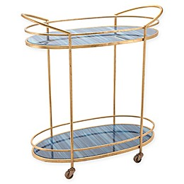 Zuo® Zaphire Bar Cart in Blue/Antique Gold