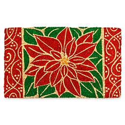 Entryways Perfect Poinsettia 18-Inch x 30-Inch Coconut Fiber Multicolor Door Mat