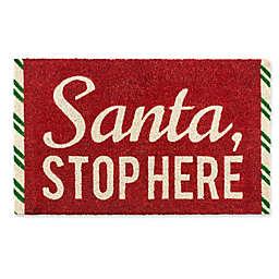 Entryways Santa Stop Here 17-Inch x 28-Inch Multicolor Door Mat