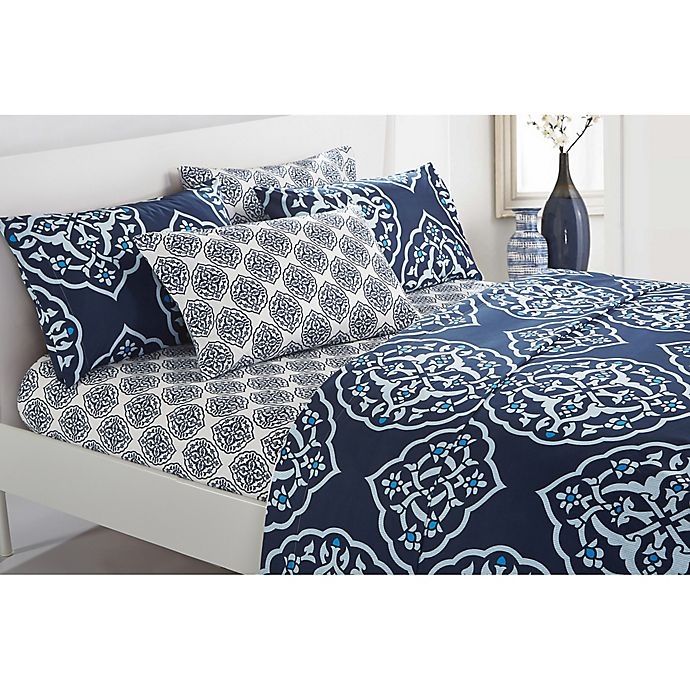 Alternate image 1 for Chic Home Jude Queen Sheet Set in Navy