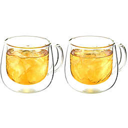 Grosche Double Wall Glass Mugs with Handles (Set of 2)