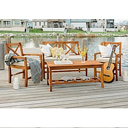 Forest Gate™ Aspen 4-Piece Acacia Outdoor Chat Set in Brown with Cushions