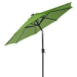 9-Foot Round Market Umbrella with Solar LED Lights in Palm/Bronze