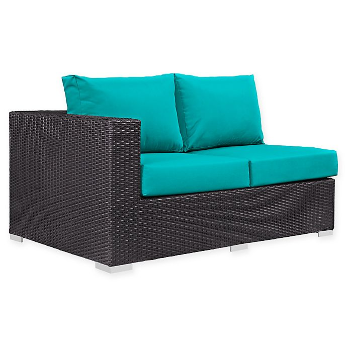 Alternate image 1 for Modway Convene Outdoor Patio Left Arm Facing Loveseat in Turquoise