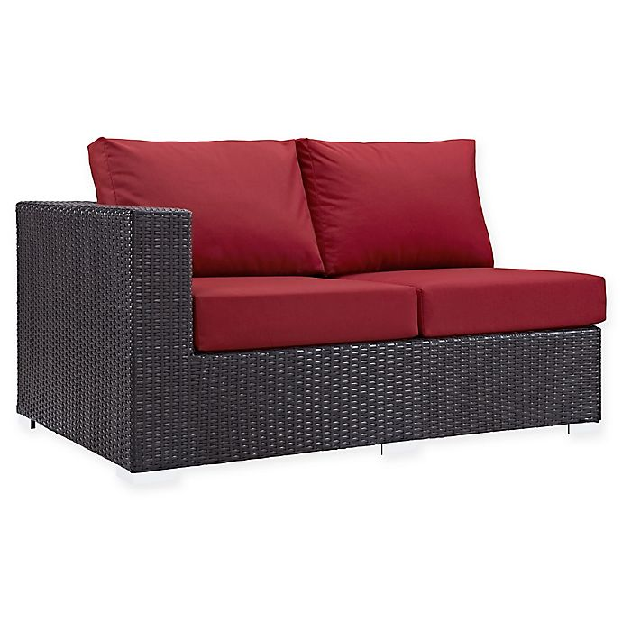 Alternate image 1 for Modway Convene Outdoor Patio Left Arm Facing Loveseat in Red