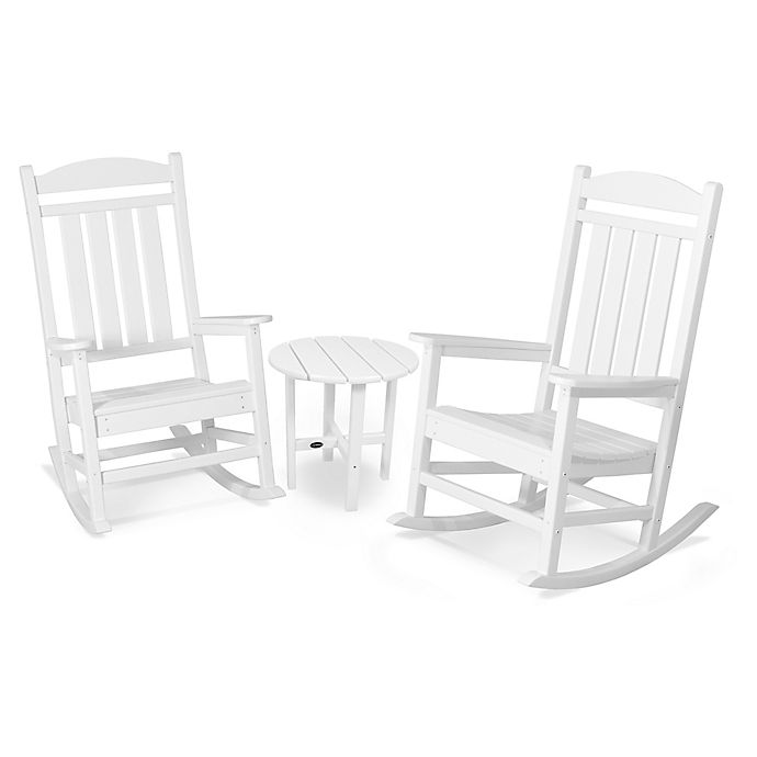 Alternate image 1 for POLYWOOD® Presidential 3-Piece Rocker Set with Round Table in White