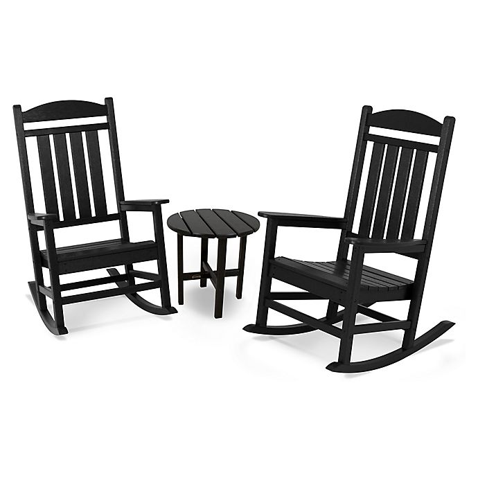 Alternate image 1 for POLYWOOD® Presidential 3-Piece Rocker Set with Round Table in Black