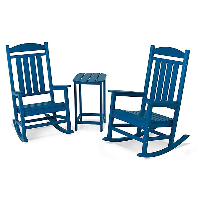 Alternate image 1 for POLYWOOD® Presidential 3-Piece Rocker Set with Square Table in Pacific Blue