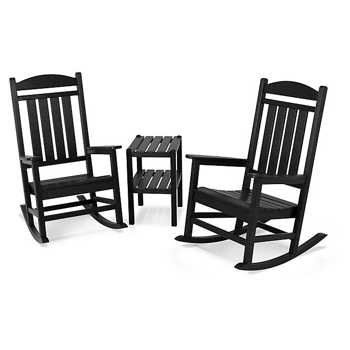 Alternate image 1 for POLYWOOD® Presidential 3-Piece Rocker Set with Square Table in Black