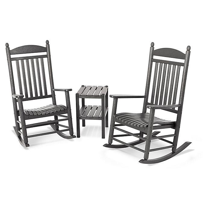 Alternate image 1 for Polywood® Jefferson 3-Piece Rocker Set in Slate Grey