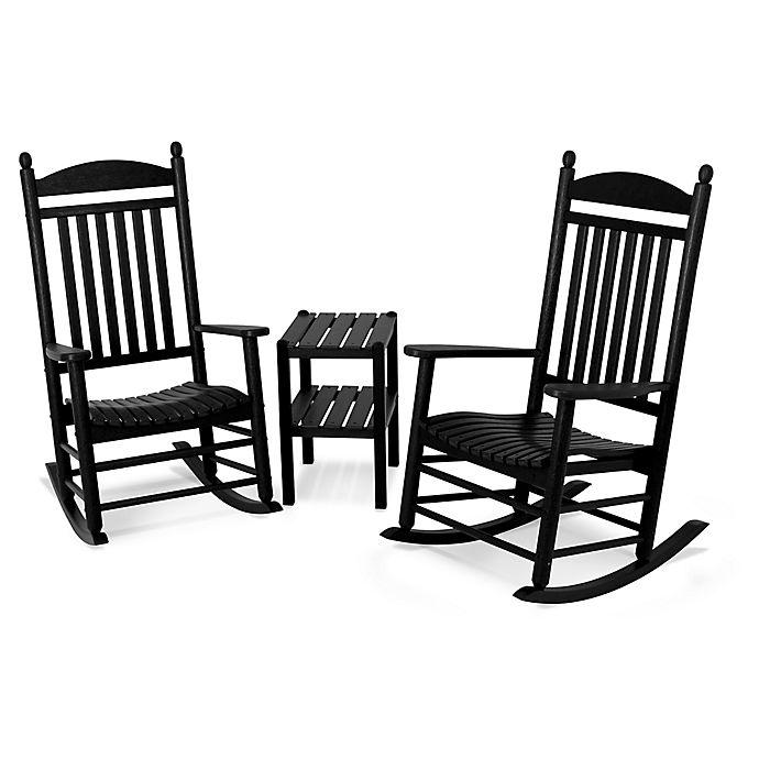 Alternate image 1 for Polywood® Jefferson 3-Piece Rocker Set in Black