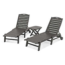 POLYWOOD® Nautical 3-Piece Chaise Set in Slate Grey