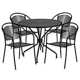 Flash Furniture Steel Indoor/Outdoor 35.25-Inch Round/Round-Back Dining Set