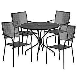 Flash Furniture Steel Indoor/Outdoor 35.25-Inch Round/Square-Back Dining Set