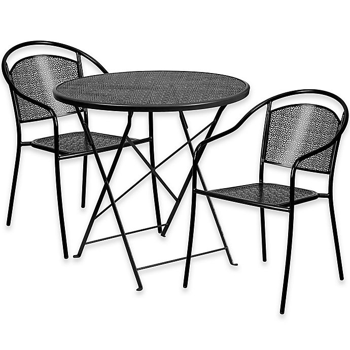 Alternate image 1 for Flash Furniture 3-Piece Outdoor Patio Furniture Set with Round Back Chairs in Black