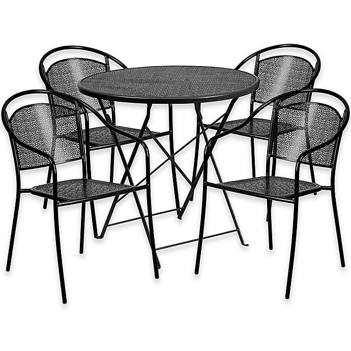 Alternate image 1 for Flash Furniture 5-Piece Outdoor Patio Furniture Set with Round Back Chairs in Black