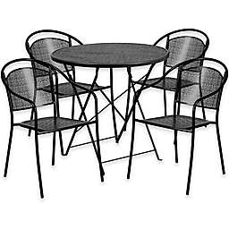 Flash Furniture Outdoor Patio Furniture Set with Round Back Chairs in Black