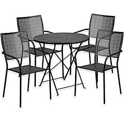 Flash Furniture Outdoor Patio Furniture Set with Square Back Chairs in Black