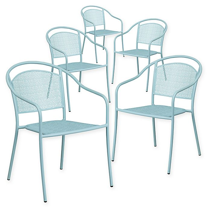 Alternate image 1 for Flash Furniture Outdoor Patio Rounded Back Armchairs in Sky Blue (Set of 5)
