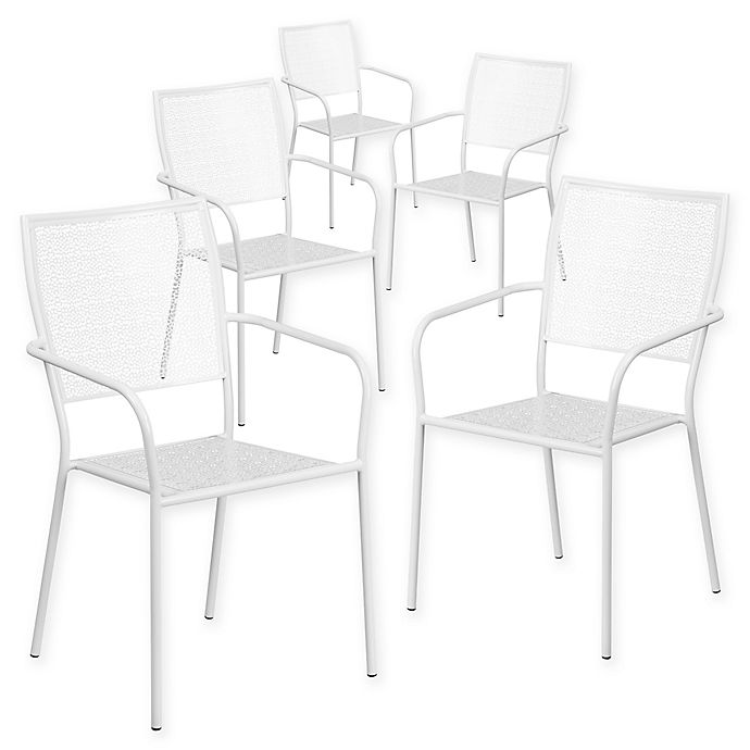 Alternate image 1 for Flash Furniture Steel Indoor/Outdoor Square-Back Dining Arm Chairs in White (Set of 5)