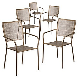 Flash Furniture Steel Indoor/Outdoor Square-Back Dining Arm Chairs (Set of 5)