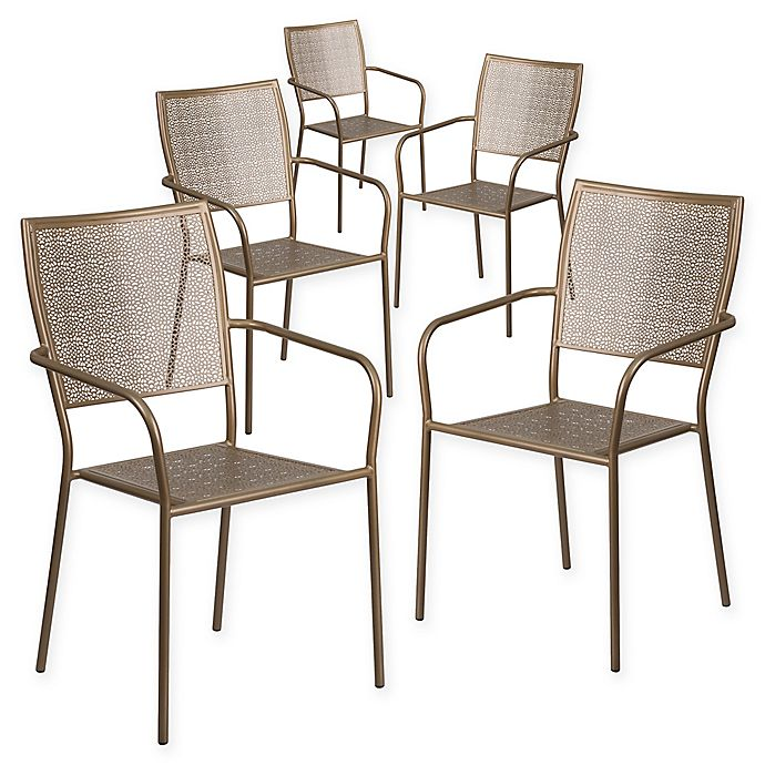 Alternate image 1 for Flash Furniture Steel Indoor/Outdoor Square-Back Dining Arm Chairs (Set of 5)