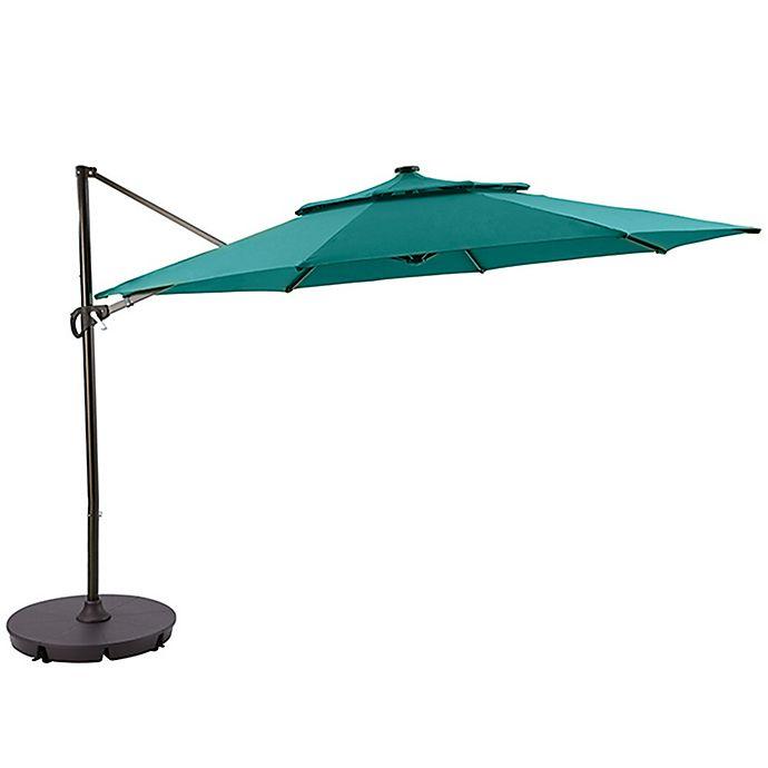 Alternate image 1 for 11-Foot Round Solar Cantilever Umbrella in Ocean