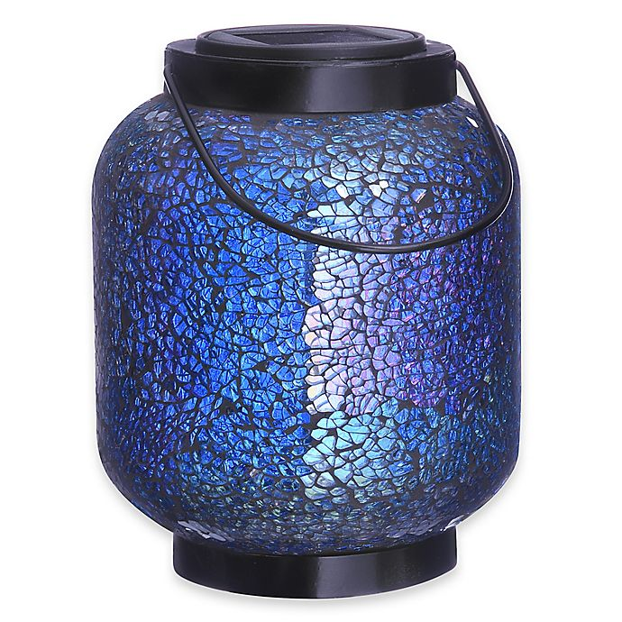 Alternate image 1 for Mosaic Jar Solar Lighted Garden Décor in Blue