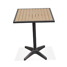 Metro Steel Outdoor Slat-Top 27-Inch Square Bar Height Table in Dark Walnut