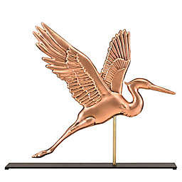 Good Directions Blue Heron Table Top Sculpture in Pure Copper