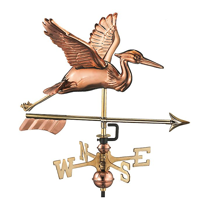 Alternate image 1 for Good Directions Great Blue Heron with Arrow Garden Weathervane in Copper