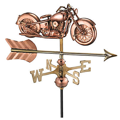 Good Directions Motorcycle with Arrow Cottage Weathervane in Copper