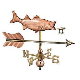 Good Directions Bass with Lure and Arrow Garden Weathervane in Copper