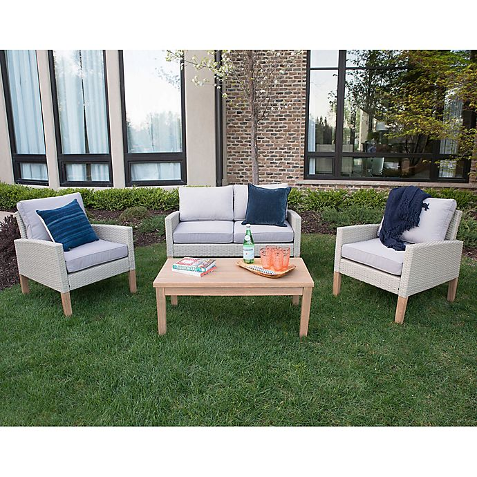 Alternate image 1 for Forest Gate 4-Piece Deep-Seated Wicker Patio Chat Set in Grey