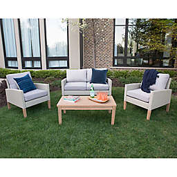 Forest Gate 4-Piece Eucalyptus Rattan Patio Chat Set in Grey